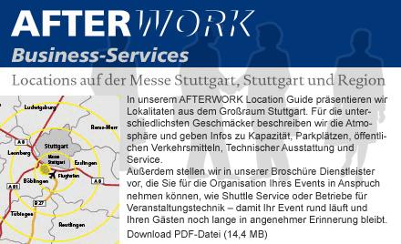AFTERWORK Locations auf der Messe Stuttgart, Stuttgart und Region
